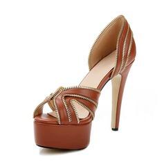 Äkta läder Stilettklack Sandaler Plattform Peep Toe med Zipper skor (087050324)