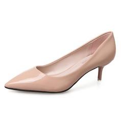 Женщины кожа Низкий каблук На каблуках Закрытый мыс обувь (085092802)