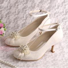Женщины шелка как атласное Высокий тонкий каблук На каблуках с хрусталь жемчуг (047118985)