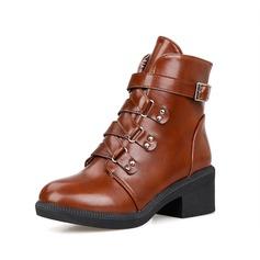 Женщины кожа Устойчивый каблук Полусапоги обувь (088076603)