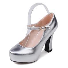 Женщины кожа Устойчивый каблук На каблуках Закрытый мыс обувь (085092738)