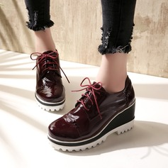 Women's Patent Leather Wedge Heel Closed Toe Wedges With Lace-up shoes (086119371)