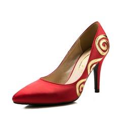 Женщины Атлас Высокий тонкий каблук На каблуках Закрытый мыс с Аппликация обувь (085059864)