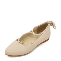 Женщины PU Плоский каблук На плокой подошве Закрытый мыс с Шнуровка обувь (086142480)