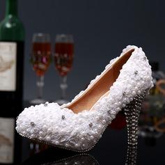 Женщины Кружева Высокий тонкий каблук Закрытый мыс На каблуках с горный хрусталь Каблуки с кристаллами (047046167)