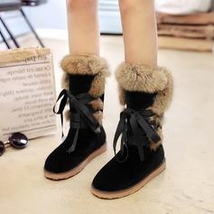 Женщины Замша Плоский каблук Ботинки Сапоги до середины голени с Шнуровка мех обувь (088140233)