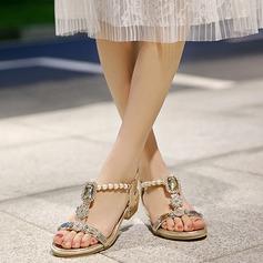 Mulheres Salto baixo Sandálias Beach Wedding Shoes com Pérola Imitação Strass (047125417)
