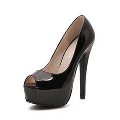 Lackskinn Stilettklack Sandaler Pumps Peep Toe skor (087050213)