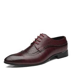 Homens Microfibra Couro Aplicação de renda Sapatos De Vestido Trabalhos Oxfords Masculinos (259173762)