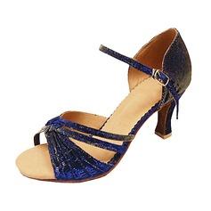 Женщины Ткань На каблуках Сандалии Латино с пряжка Обувь для танцев (053013162)
