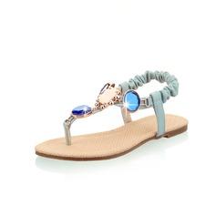 Kunstleder Flascher Absatz Sandalen Flache Schuhe mit Strass Schuhe (087047259)