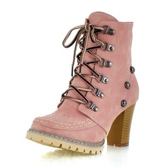 Женщины кожа Устойчивый каблук На каблуках Закрытый мыс Ботинки Полусапоги с Шнуровка обувь (088100589)