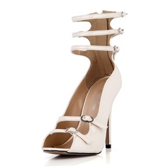 Patent Leather Stiletto Heel Sandals Pumps Peep Toe With Buckle Zipper shoes (087042627)