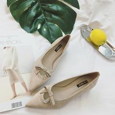 Женщины Замша Плоский каблук На плокой подошве Закрытый мыс с бантом блестками обувь (086134743)