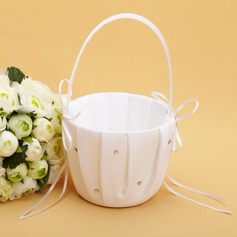 Beautiful Flower Basket in Satin With Rhinestones/Ribbons (102038618)
