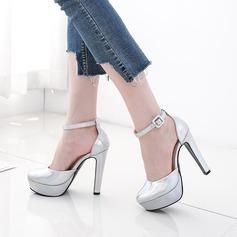 Женщины PU Устойчивый каблук На плокой подошве Платформа Закрытый мыс с пряжка обувь (085138312)