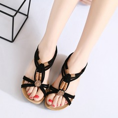 Женщины Замша Вид каблука Сандалии Открытый мыс Босоножки с пряжка Соединение врасщеп обувь (087121476)