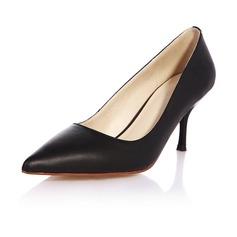 Vrai cuir Talon stiletto Escarpins Bout fermé chaussures (085046394)