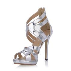 Lackskinn Stilettklack Sandaler Pumps med Spänne skor (087054106)