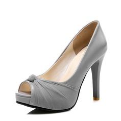 Donna Similpelle Tacchi a cono Stiletto con Bowknot scarpe (085114539)