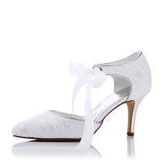 Женщины Кружева шелка как атласное Высокий тонкий каблук На каблуках Сандалии с Шнуровка (047117235)