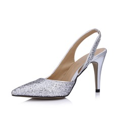 Vrouwen Kunstleer Sprankelende Glitter Cone Heel Closed Toe Pumps Slingbacks (047026435)