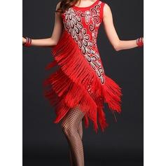 Женщины Одежда для танцев полиэстер Латино Платья (115087949)