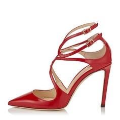 Женщины кожа Высокий тонкий каблук На каблуках Закрытый мыс с пряжка обувь (085153100)