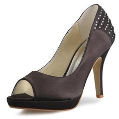 Kvinnor Satäng Stilettklack Peep Toe Pumps Sandaler med Strass (047056185)
