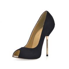 Женщины Замша Высокий тонкий каблук Сандалии Открытый мыс обувь (085017477)