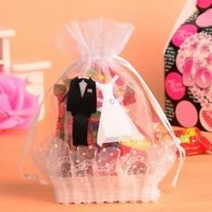 Noiva & Noivo Cesta Bolsas de Ofertas com Fitas (conjunto de 12) (050054576)