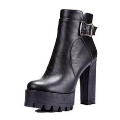 Женщины кожа Устойчивый каблук На каблуках Платформа Закрытый мыс Ботинки Полусапоги с пряжка обувь (088095923)