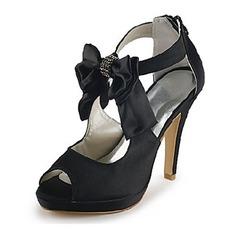 Mulher Cetim Salto cone Peep toe Plataforma Sandálias com Laço Imitação de Diamantes (047020113)