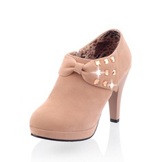 Suede Cone Heel Ankle Boots With Rhinestone shoes (088054168)