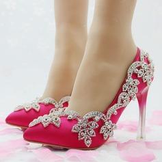 Женщины кожа Высокий тонкий каблук Закрытый мыс На каблуках с горный хрусталь (047149251)