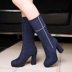 Женщины Замша Устойчивый каблук Ботинки с Другие обувь (088109386)