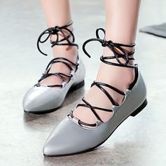 Donna Similpelle Senza tacco Sandalo Ballerine Punta chiusa con Allacciato scarpe (086119360)