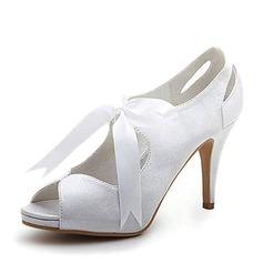 Kvinnor Satäng Cone Heel Peep Toe Plattformen Sandaler med Ribbon Tie (047005035)