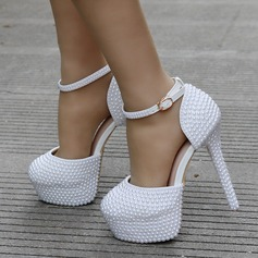 Женщины кожа Высокий тонкий каблук Платформа На каблуках с Имитация Перл (047149247)