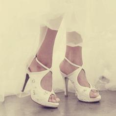 Женщины Кружева Высокий тонкий каблук Открытый мыс Платформа Сандалии Beach Wedding Shoes с горный хрусталь (047126534)