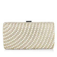 Elegante Perla con Rhinestone Bolso Claqué (012040758)