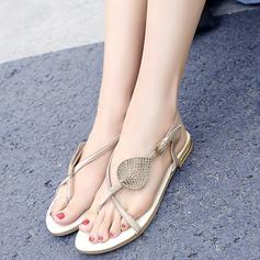 Mulheres Camurça Sem salto Sem salto Sandálias Beach Wedding Shoes com Fivela Strass (047125414)