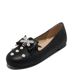 Женщины PVC Плоский каблук На плокой подошве Закрытый мыс с бантом Имитация Перл обувь (086153768)