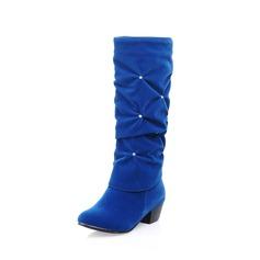 Женщины кожа Низкий каблук Закрытый мыс Сапоги до середины голени с горный хрусталь обувь (088094578)