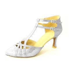 Женщины кожа На каблуках На каблуках Бальные танцы с Т-ремешок Обувь для танцев (053020143)