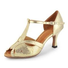 Женщины Мерцающая отделка Лакированная кожа На каблуках Сандалии Латино с Т-ремешок Обувь для танцев (053021493)