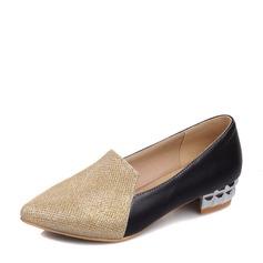 Женщины Мерцающая отделка PU Устойчивый каблук На плокой подошве обувь (086143516)