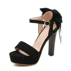Mulheres Camurça Salto agulha Sandálias Bombas Plataforma Peep toe Mary Jane com Fivela sapatos (085167125)