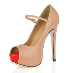 Leatherette Stiletto Heel Sandals Platform Peep Toe With Buckle shoes (085017471)