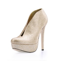Vrouwen Sprankelende Glitter Stiletto Heel Laarzen Closed Toe Plateau Pumps (047017457)